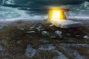 Magical portal in a mysterious land . Surreal and fantastic concept